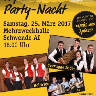 Alpstein Party-Nacht Mehrzweckhalle Schwende AI   ab 18.00Uhr